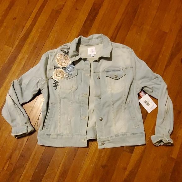 bc34edf6aa7 LuLaRoe Jackets & Coats | Harvey Floral Embroider Denim Jacket Xl ...